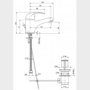 Miscelatore monocomando per lavabo cromato | Squalo