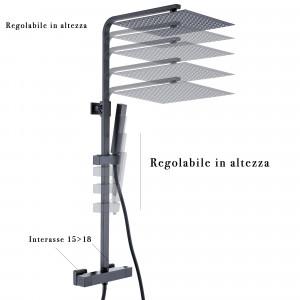 Colonna doccia nera, soffione 25x25, termostatica Este Black